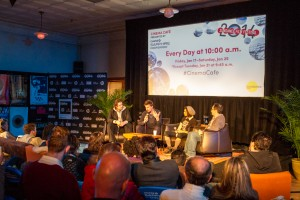 A panel discussion with four indie filmmakers discussing their films.