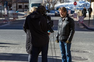 """William H. Macy giving an interview about his film """"Rudderless""""."""