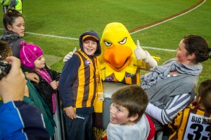 Kids gather around the Hawthorn Hawks mascot during an sports match in Melbourne.