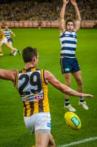A Hawthorn Hawk player attempts to kick the ball.
