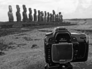 Camera on Tripod in Easter Island.