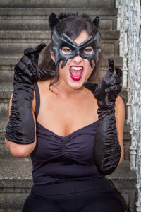 Dressed as Catwoman