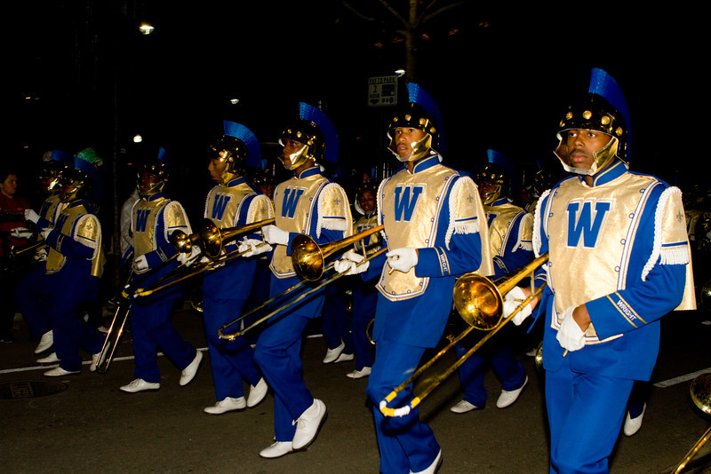 A well choreographed local marching at the 2012 Mardi Gras in New Orleans.